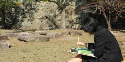 広島城で水彩画を描きました