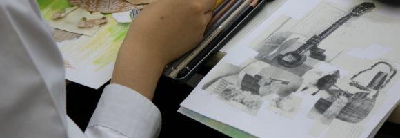 創造表現コース授業レポート(3年生 絵画)コラージュ技法を学習しました
