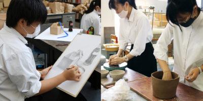 2年生授業レポート 陶芸・静物デッサン
